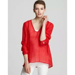 Eileen Fisher Red Linen Gauze Tunic Top size small